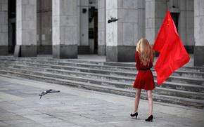 Настроения: Москва, Россия, блондинка, флаг, голуби