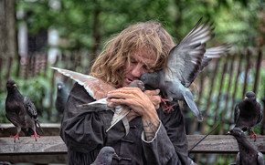 Настроения: New York City, Нью-Йорк, бездомный, голуби, птицы, любовь, настроение