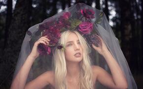Настроения: Lauren Hallworth, невеста, венок, цветы, фата, настроение