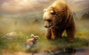 Животные: медведь, кролик, встреча, рисунок