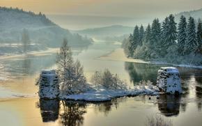 Пейзажи: Blakstad, Froland, Aust-Agder, Norway, Nidelv River, зима, река, деревья, пейзаж
