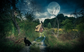 Рендеринг: дорога, деревья, луна, домик, ворон, кошка, пейзаж