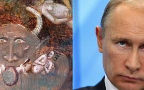Мужчины: фреска, 14 век, антихрист, путлер