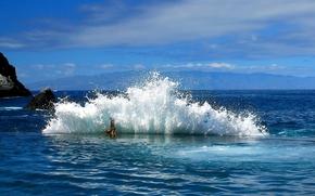 Природа: море, прибой, пена, брызги, камни, скалы