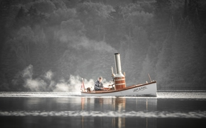 Корабли: паровая лодка, лодка, старик, собака, река