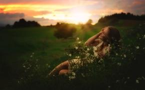 Настроения: девушка, настроение, луг, цветы, закат