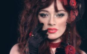 Стиль: девушка, портрет, лицо, макияж, взгляд, рука, перчатка, кольцо, украшения