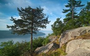 Пейзажи: Lake George, Great Appalachian Valley, Adirondack Mountains, New York, озеро Лейк-Джордж, Большая Долина, горы Адирондак, штат Нью-Йорк, озеро, деревья, камни, панорама