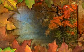 Рендеринг: осень, листья, дерево