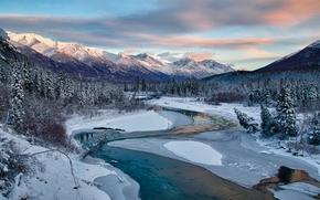 Пейзажи: Eagle River, Alaska, горы, река, зима, деревья, пейзаж