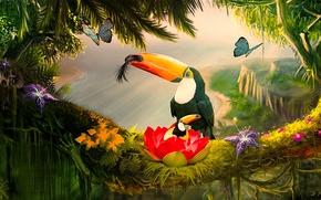 Рендеринг: тукан, птицы, бабочки, 3d, art