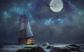 Рендеринг: ночь, луна, море, корабль, скалы, пейзаж