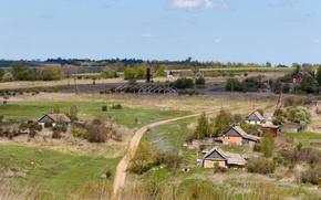 Обои Пейзажи: Весна, май, село, Никитинское, Тульская область, Россия, дома, дорога, деревня, деревья, трава, небо, пейзаж