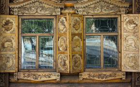 Город: Окна, ставни, изба, дом, улица Карагандинская 61, пожарная часть №1, город Оренбург, Россия