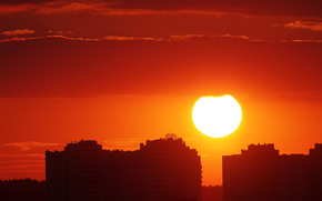 Город: Закат, солнце, вечер, заря, город, Киев, Украина, дома