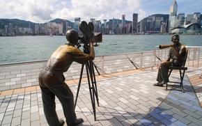 Город: Скульптура, режисёр, оператор, кино, небоскрёбы, Гонконг, Китай