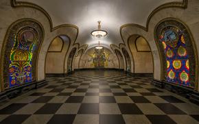 Город: Станция метро, Новослободская, Москва, Россия, город, интерьер, люстра, мазаика