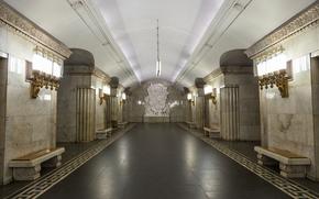 Город: Станция, метро, Смоленская, Москва, Россия, город, интерьер