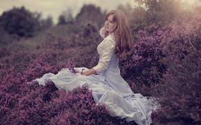 Настроения: девушка, платье, вереск, настроение