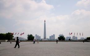 Город: Площадь, Пхеньян, Северная Корея, дома, город