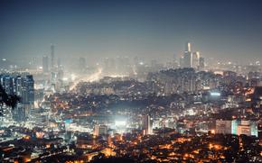 Город: Ночь, дома, небоскрёбы, Cеул, Южная Корея, город