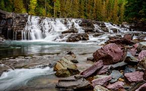 Природа: река, лес, деревья, камни, водопад, каскад, природа