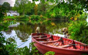 Пейзажи: река, лодка, деревья, дом, пейзаж
