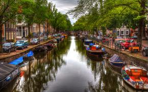 Город: Amsterdam, город, канал, лодки, дома