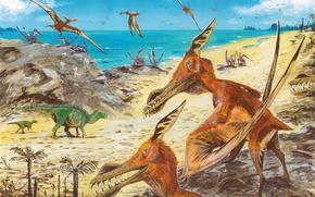 Животные: Древние, животные, динозавры, живопись, пляж, море, пальмы