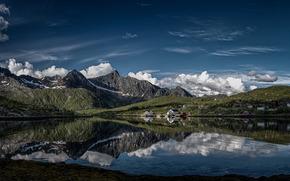 Пейзажи: Kalle, Lofoten, Norway, Калле, Лофотенские острова, остров Эуствогёй, Норвегия, деревня, фьорд, горы, облака, отражение