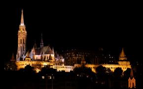 Город: Ночь, Церковь Матьяша и Рыбацкий бастион, Будапешт, Венгрия, город