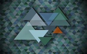 Абстракция: треугольник, мозаика, абстракция, фон