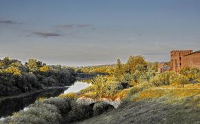 Город: Смоленск, Россия, крепость, стена, река, небо, деревья