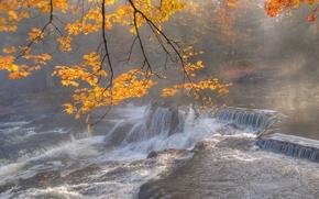 Природа: осень, река, туман, водопад, природа
