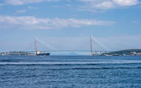 Город: Владивосток, Россия, мост, море, корабли, небо, облака, горы, сопки, город