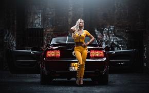 Машины: Ford Mustang, Ford, Mustang, девушка, блондинка