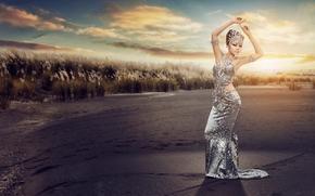 Стиль: азиатка, фигура, поза, платье, наряд, закат