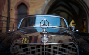 Машины: Mercedes-Benz, капот, значок, решётка