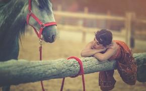 Настроения: Arancha Ari Arevalo, модель, лошадь, конь, бревно, настроение