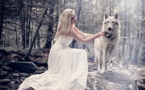 Настроения: девушка, платье, волк, лес