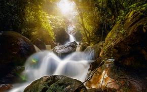 Природа: Bridal Veil Fall, Bonito, Pernambuco, Brazil, водопад Брайдлвейл, водопад Фата Невесты, Бониту, Пернамбуку, Бразилия, водопад, камни, валуны, лес