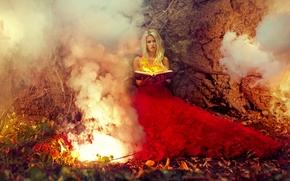Фантастика: девушка, модель, красное платье, платье, огонь, книга, магия