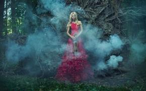 Настроения: девушка, модель, красное платье, платье, фигура, скрипка, дым, лес
