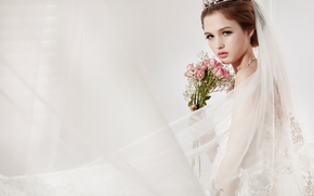 Настроения: девушка, невеста, фата, розы, цветы, взгляд