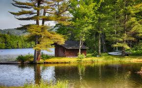 Пейзажи: осень, озеро, деревья, дом, лодка, пейзаж