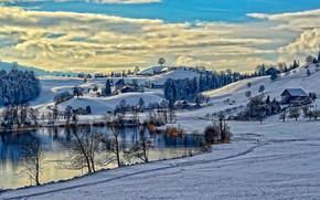 Пейзажи: зима, озеро, дорога, дома, холмы, деревья, пейзаж