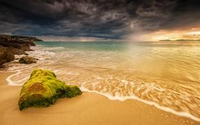 Пейзажи: закат, море, тучи, берег, пляж, пейзаж