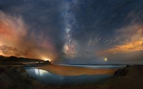 Пейзажи: Ночь, небо, звёзды, галактика, Млечный Путь, космос, пейзаж, Америка, Калифорния, берег, пляж