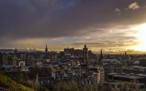 Город: Эдинбург, Шотландия, город, сумерки, дома, небо