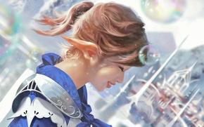 Фантастика: Taejune_kim, girl, hair style, smile, bubbles, castle, fairytale